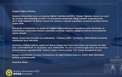 İstanbul AUZEF Bahar Dönemi Arasınavları Online Olacak